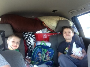 On our way to Pog Lake, Algonquin Park. Such happy boys!