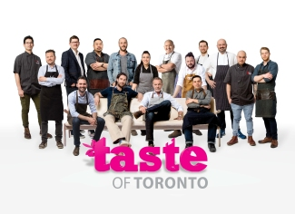 Taste of Toronto 2016 chef lineup (Clockwise from left to right): Kazuki Uchigoshi, Rob Bragagnolo, Michael van den Winkel, Trevor Lui, Anthony Rose, Elia Herrera, David Lee, David Neinstein, Carl Heinrich, Chris Kalisperas, Michael Acero, Davin Shearer, Ted Corrado, Mark McEwan, Michael Hunter and Franco Stalteri. Photo credit: Sarjoun Faour Courtesy of Taste of Toronto